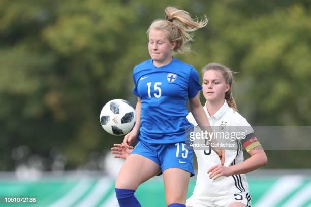 Annika Huhta of Finland challenges Greta Stegemann of Germany during the Germany U17 Girl's v Finland U17 Girl's International Friendly match on...