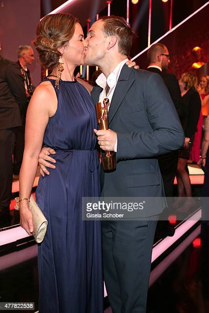 Annika Kipp and her partner Frederick Lau attend the German Film Award 2015 Lola party at Palais am Funkturm on June 19 2015 in Berlin Germany