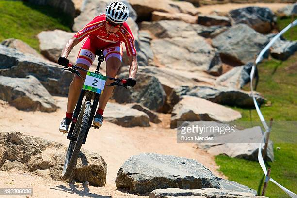 Annika Langvad of Denmark competes in the International Mountain Bike Challenge at the Deodoro Sports Complex on October 11, 2015 in Rio de Janeiro,...