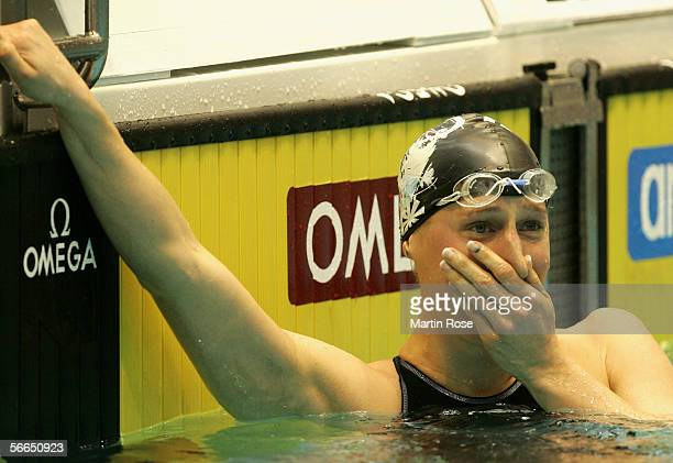 Annika Liebs of Germany competes in the women's 200m freestyle during the Swimming Arena World Cup on January 21 2006 in Berlin Germany