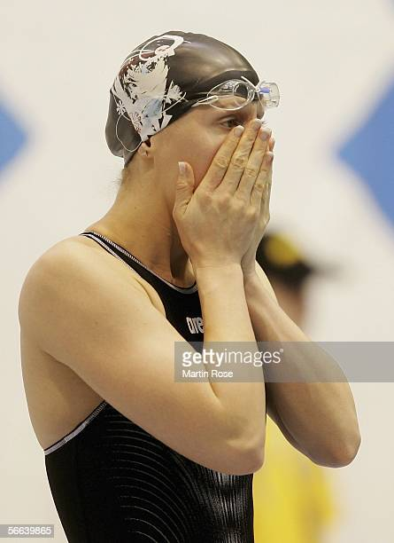 Annika Liebs of Germany looks on before the women's 200m freestyle final during the Swimming Arena World Cup on January 21 2006 in Berlin Germany