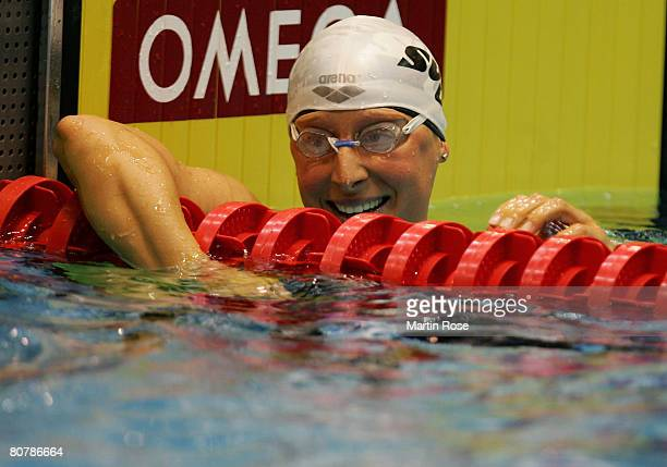 Annika Lurz of SV Wuerzburg 05 looks happy after winning the Women's 200 m free style final during day three of the German Swimming Championships on...
