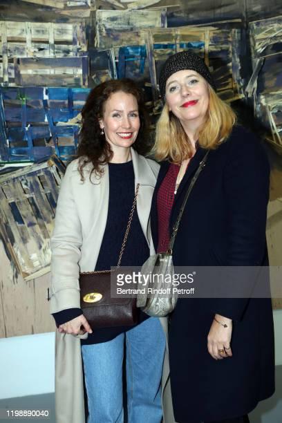 Annika Mennour and RP of Philharmonic of Paris Angela Giehr attend Tadashi Kawamata and Christian de Portzamparc during La Galette Des Rois King's...