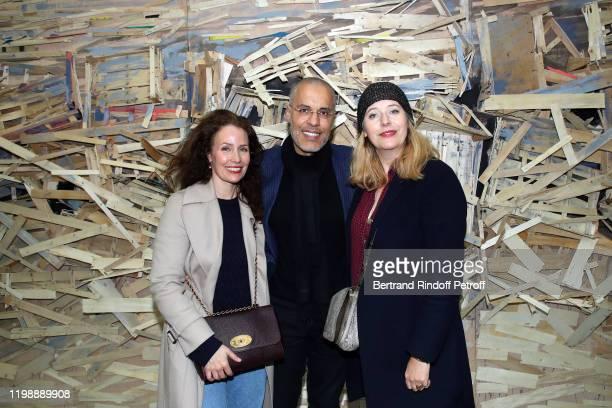 Annika Mennour Kamel Mennpur and RP of Philharmonic of Paris Angela Giehr attend Tadashi Kawamata and Christian de Portzamparc during La Galette Des...