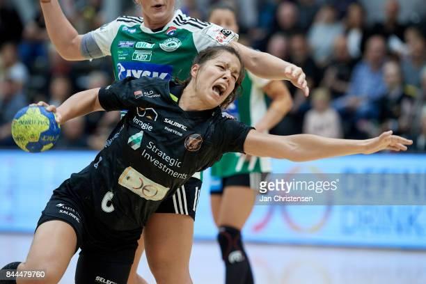 Annika Meyer of Copenhagen Handball challenge for the ball during the Danish HTH Go Ligaen match between Copenhagen Handball and Silkeborg Voel in...