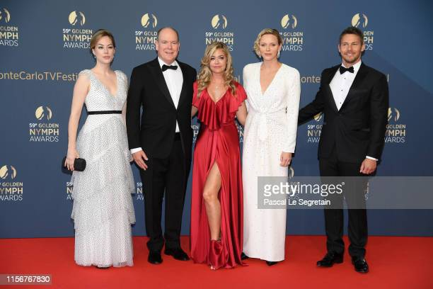 Annika Noelle, Prince Albert II of Monaco, Denise Richards, Princess Charlene of Monaco and Scott Clifton attend the closing ceremony of the 59th...
