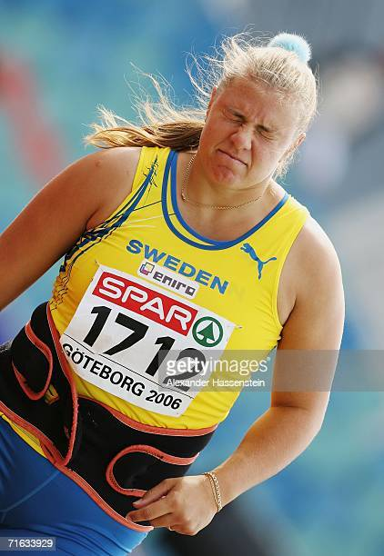 Annika Petersson of Sweden competes during the Women's Javelin throw Qualifying Round on day six of the 19th European Athletics Championships at the...