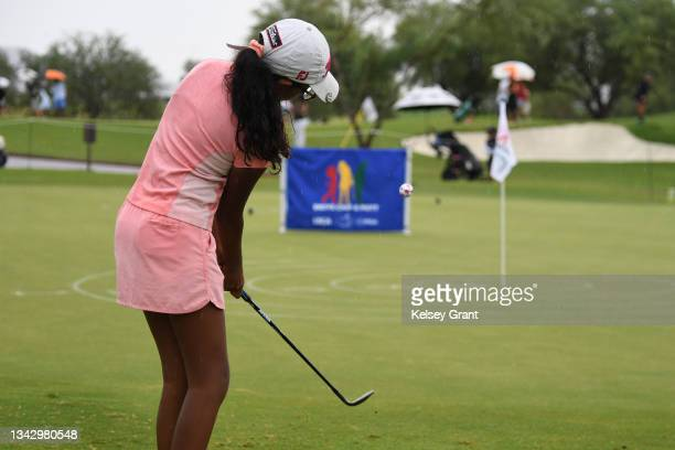 Annika Raja of the girls 10-11 category attempts a chip during the 2021 Drive, Chip and Putt Regional Qualifier at TPC Scottsdale on September 26,...