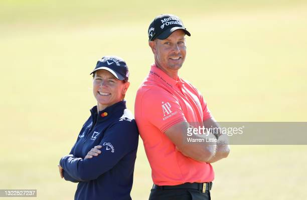 Annika Sorenstam and Henrik Stenson of Sweden pose ahead of the Scandinavian Mixed Hosted by Henrik and Annika at Vallda Golf & Country Club on June...