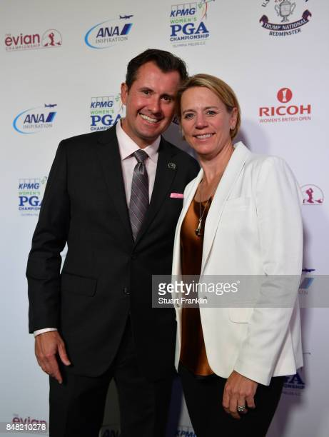 Annika Sorenstam and husband Mike McGee poses for a picture at the Rolex Annika Awards ceremony after the second round of The Evian Championship 2017...
