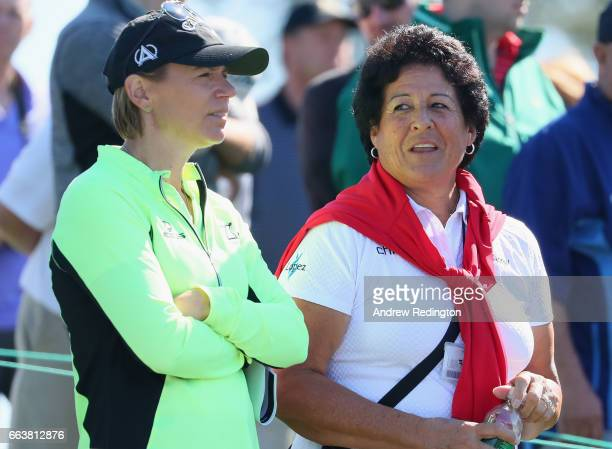 Annika Sorenstam and Nancy Lopez watch play during the Drive Chip and Putt Championship at Augusta National Golf Club at Augusta National Golf Club...