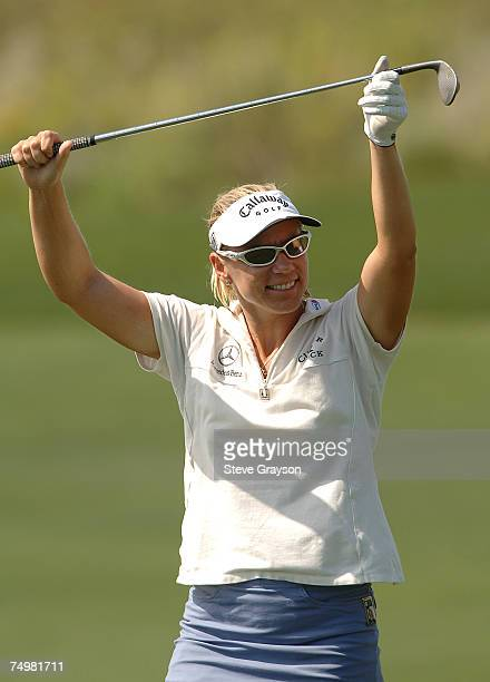 Annika Sorenstam celebrates an eagle after she holed her approach shot on the first hole during the second round of the 2005 Office Depot...