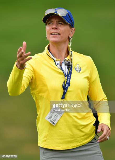 Annika Sorenstam European Team Captain gestures during practice for The Solheim Cup at the Des Moines Country Club on August 15 2017 in West Des...