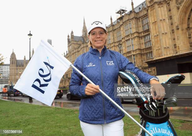 Annika Sorenstam Golf Heath ambassador is pictured on College Green during the First International Congress on Golf and Health at the Houses of...