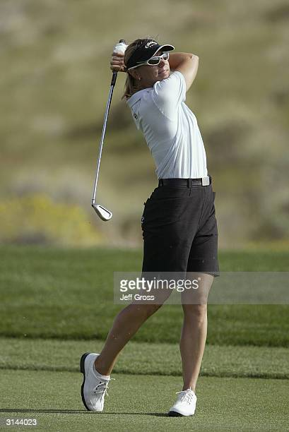 Annika Sorenstam hits a shot during the final round of the Safeway International on March 21 2004 at the Superstition Mountain Golf and Country Club...