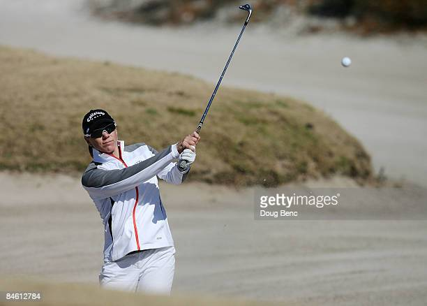 Annika Sorenstam hits hits out of a bunker during the Annika Celebration 'Skins Game' at the Ginn Reunion Resort on February 3 2009 in Reunion Florida