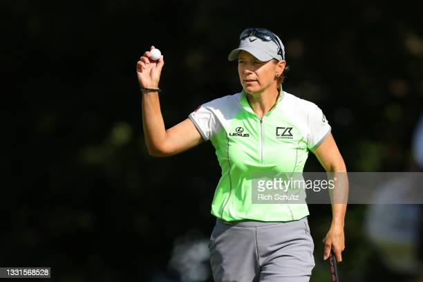 """Annika Sorenstam of Sweden acknowledges the gallery after sinking a putt on the 15th hole during the second round of the U.S. Senior Women""""u2019s..."""