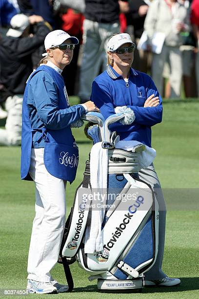 Annika Sorenstam of Sweden and the Lake Nona Team with her Sister Charlotta Sorenstam on the 1st fairway during the second days play of the Tavistock...