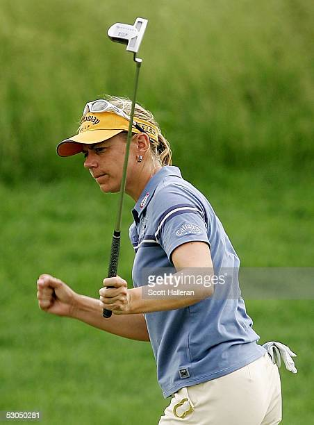 Annika Sorenstam of Sweden celebrates a birdie putt on the fifth hole during the second round of the McDonald's LPGA Championship on June 10 2005 at...