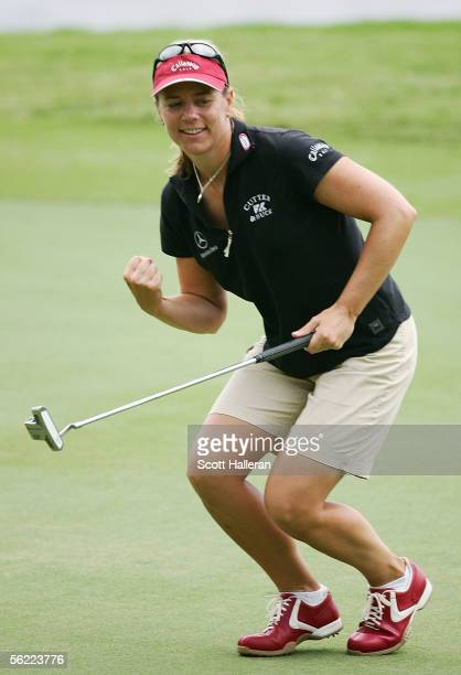 Annika Sorenstam of Sweden celebrates an eagle putt on the ninth hole during the second round of the ADT Championship at Trump International Golf...