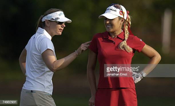 Annika Sorenstam of Sweden clowns around with Natalie Gulbis during a practice round prior to the start of the US Women's Open Championship at Pine...