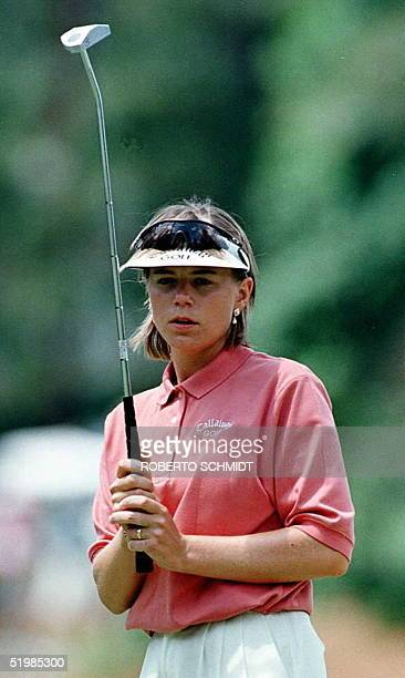 Annika Sorenstam of Sweden eyes a putt in the third green during action on the third day of the 1996 US Women's Open Championship at the Pine Needles...