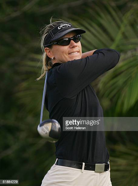 Annika Sorenstam of Sweden hits a shot during the third round of ADT Championship at the Trump International Golf Club on November 20 2004 in West...