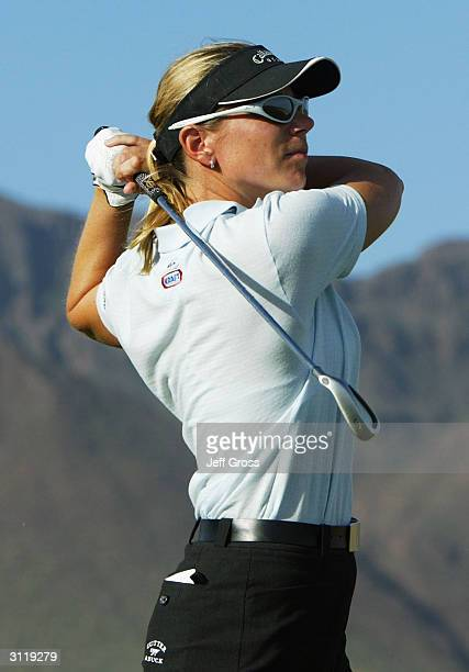 Annika Sorenstam of Sweden hits a tee shot on the 17th hole during the final round of the Safeway International on March 21 2004 at the Superstition...