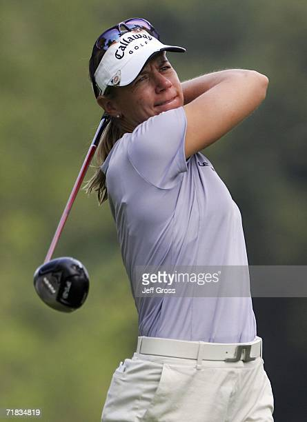 Annika Sorenstam of Sweden hits a tee shot on the twelfth hole during the second round of the John Q Hammons Hotel Classic on September 9 2006 at the...