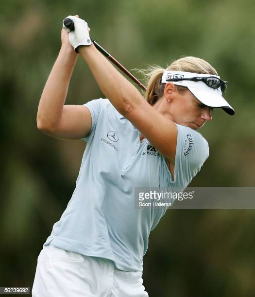 Annika Sorenstam of Sweden hits her tee shot on the 16th hole during the third round of the ADT Championship at Trump International Golf Club on...