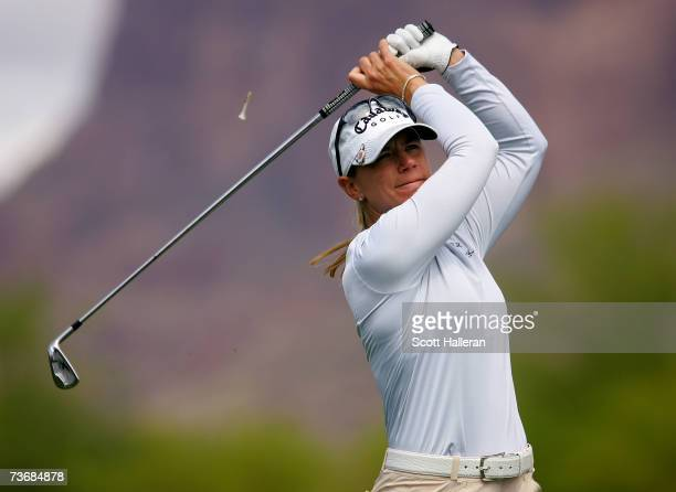 Annika Sorenstam of Sweden hits her tee shot on the 17th hole during the second round of the Safeway International at the Superstition Mountain Golf...