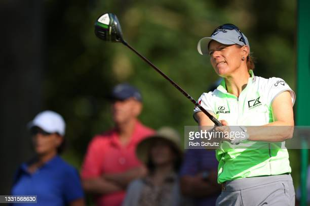 """Annika Sorenstam of Sweden hits her tee shot on the 18th hole during the second round of the U.S. Senior Women""""u2019s Open Championship on July 30,..."""