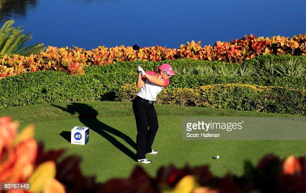 Annika Sorenstam of Sweden hits her tee shot on the 18th hole during the first round of the ADT Championship at the Trump International Golf Club on...