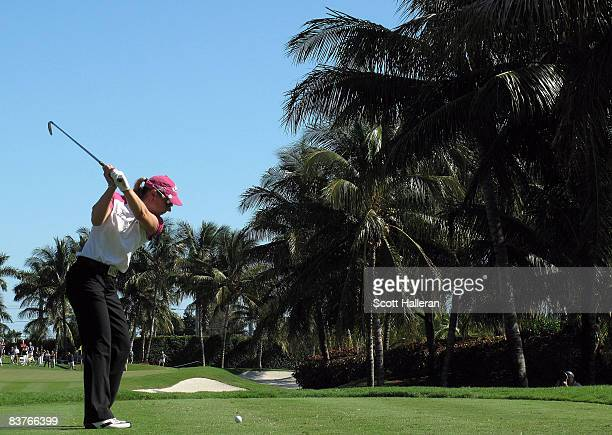 Annika Sorenstam of Sweden hits her tee shot on the fifth hole during the first round of the ADT Championship at the Trump International Golf Club on...
