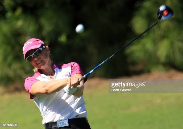 Annika Sorenstam of Sweden hits her tee shot on the third hole during the first round of the ADT Championship at the Trump International Golf Club on...