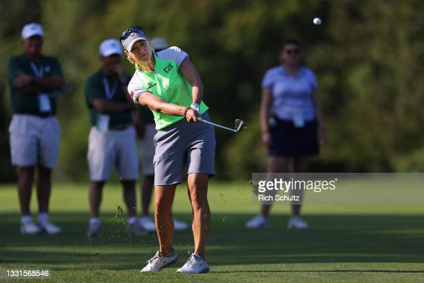 """Annika Sorenstam of Sweden hits on the 14th fairway during the second round of the U.S. Senior Women""""u2019s Open Championship on July 30, 2021 in..."""