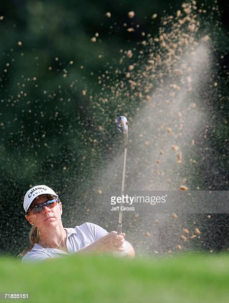 Annika Sorenstam of Sweden hits out of a fairway bunker on the seventeenth hole during the second round of the John Q Hammons Hotel Classic on...