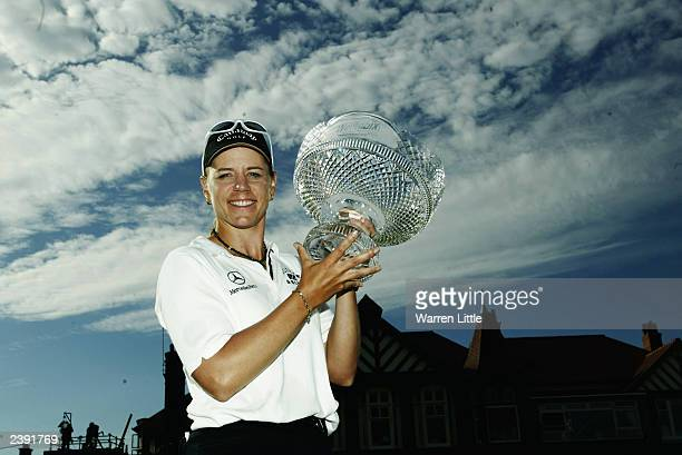 Annika Sorenstam of Sweden holds the trophy after winning the Weetabix Women's British Open held on August 3 2003 at the Royal Lytham St Anne's Golf...
