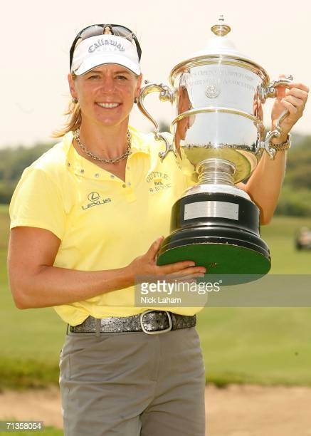 Annika Sorenstam of Sweden holds the US Open Championship trophy after the playoff of the 2006 US Women's Open on July 3 2006 at Newport Country Club...