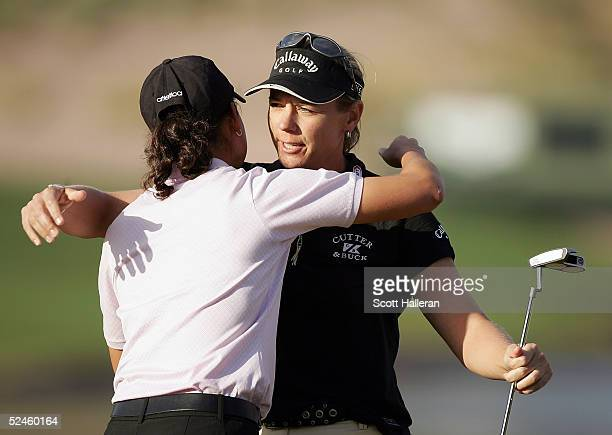 Annika Sorenstam of Sweden hugs Lorena Ochoa of Mexico after defeating Ochoa in a suddendeath playoff at the Safeway International at Superstition...