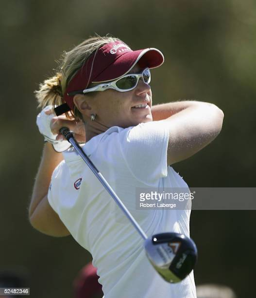 Annika Sorenstam of Sweden makes a tee shot on the third hole during the third round of the LPGA Kraft Nabisco Championship 2005 at the Mission Hills...