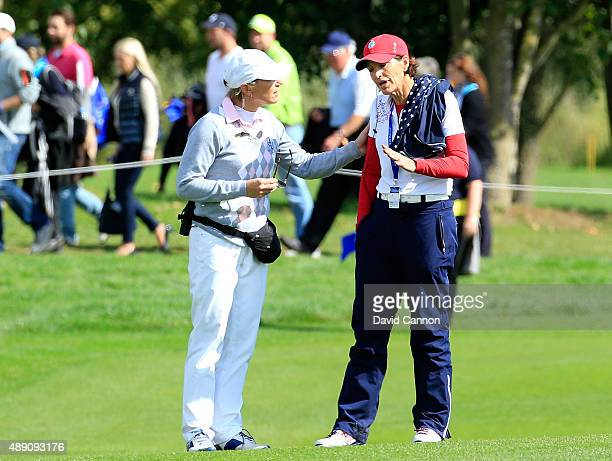 Annika Sorenstam of Sweden one of the European Team vice captains speaking animatedly with Juli Inkster the United States team captain on the 18th...