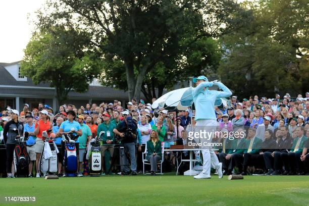 Annika Sorenstam of Sweden plays her tee shot during the First Tee Opening Ceremony before play in the final round of the inaugural Augusta National...