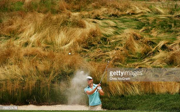 Annika Sorenstam of Sweden plays her third shot out of the bunker on the tenth hole during the second round of the HSBC Women's World Match Play...