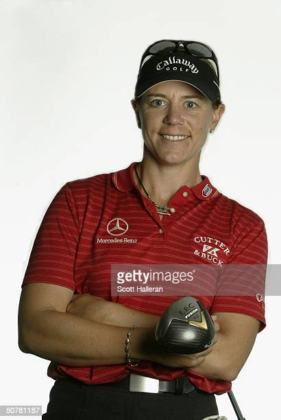 Annika Sorenstam of Sweden poses for a portrait prior to the start of the ChickfilA Charity Championship at Eagle's Landing Country Club on April 28...