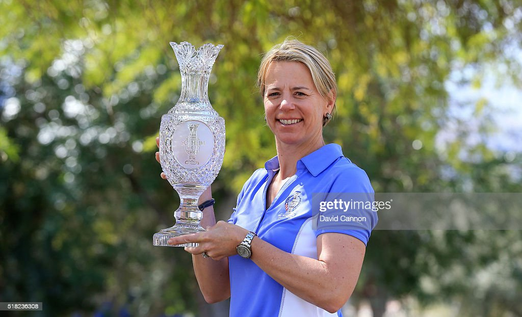 Annika Sorenstam of Sweden poses with the Solheim Cup after the press conference to announce her as the 2017 European Solheim Cup Captain held during the ANA Inspiration at Mission Hills Country Club on March 30, 2016 in Rancho Mirage, California.