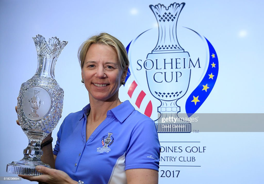 Annika Sorenstam of Sweden poses with the Solheim Cup during the press conference to announce her as the 2017 European Solheim Cup Captain held during the ANA Inspiration at Mission Hills Country Club on March 30, 2016 in Rancho Mirage, California.