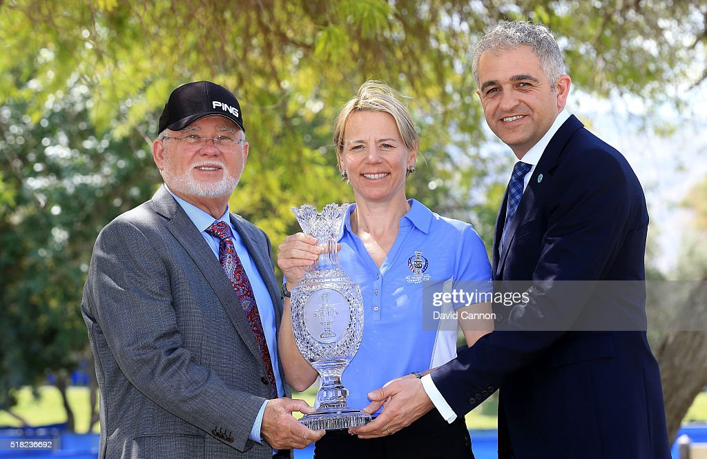 Annika Sorenstam of Sweden poses with the Solheim Cup with John Solheim the Chairman and CEO of Ping (l) and Ivan Khodabakhsh the CEO of the Ladies European Tour after the press conference to announce her as the 2017 European Solheim Cup Captain held during the ANA Inspiration at Mission Hills Country Club on March 30, 2016 in Rancho Mirage, California.