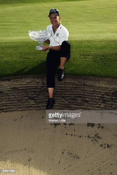 Annika Sorenstam of Sweden poses with the trophy after winning the Weetabix Women's British Open held on August 3 2003 at the Royal Lytham St Anne's...