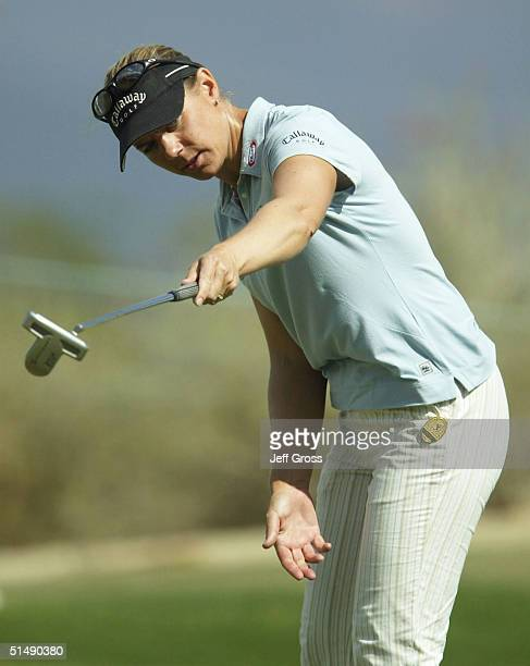 Annika Sorenstam of Sweden reacts to a putt on the 10th hole during the final round of the LPGA Samsung World Championship on October 17 2004 at the...